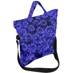 Blue Queen Anne s Lace (up Close) Fold Over Handle Tote Bag