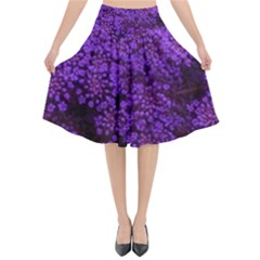 Purple Queen Anne s Lace Landscape Flared Midi Skirt