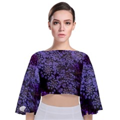 Blue Queen Anne s Lace Landscape Tie Back Butterfly Sleeve Chiffon Top by okhismakingart