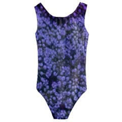 Blue Queen Anne s Lace Landscape Kids  Cut Out Back One Piece Swimsuit by okhismakingart
