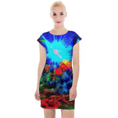 Psychedelic Spaceship Cap Sleeve Bodycon Dress by okhismakingart