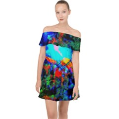 Psychedelic Spaceship Off Shoulder Chiffon Dress