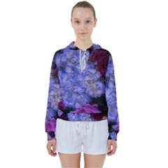 Hydrangea Arrangement Ii (blue Tint) Women s Tie Up Sweat