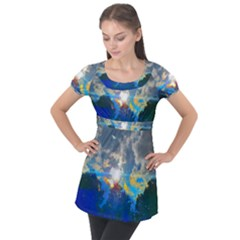 Broken Sky Puff Sleeve Tunic Top by okhismakingart