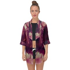 Purple Highlighted Flowers Open Front Chiffon Kimono
