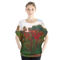 Red Weeds Batwing Chiffon Blouse by okhismakingart