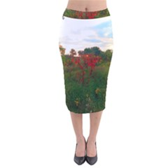 Red Weeds Velvet Midi Pencil Skirt by okhismakingart