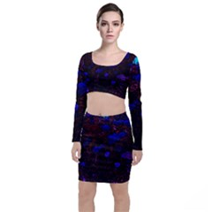 Red Edged Blue Sedum Long Sleeve Crop Top & Bodycon Skirt Set