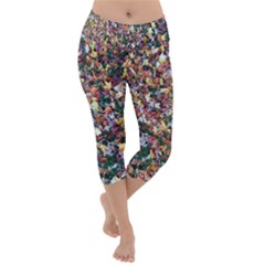 Scattered Leaves  Lightweight Velour Capri Yoga Leggings
