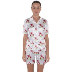 Cute Floral Drawing Motif Pattern Satin Short Sleeve Pyjamas Set by dflcprintsclothing