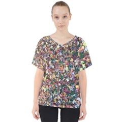 Scattered Leaves V Neck Dolman Drape Top