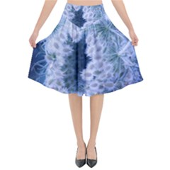 Light Blue Closing Queen Annes Lace Flared Midi Skirt