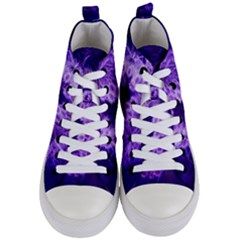 Dark Purple Closing Queen Annes Lace Women s Mid Top Canvas Sneakers