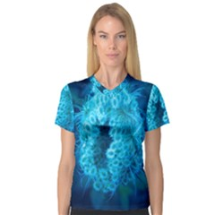Blue Closing Queen Annes Lace V Neck Sport Mesh Tee