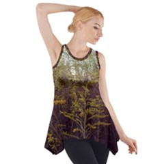 Purple And Yellow Goldenrod Side Drop Tank Tunic