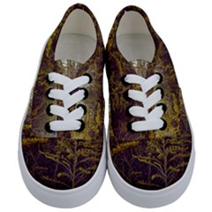 Purple And Yellow Goldenrod Kids  Classic Low Top Sneakers