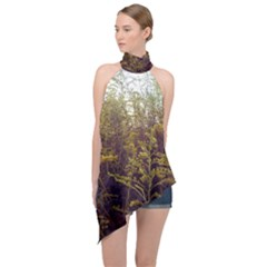 Purple And Yellow Goldenrod Halter Asymmetric Satin Top