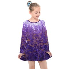 Yellow And Blue Goldenrod Kids  Long Sleeve Dress