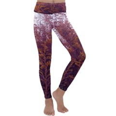Red And Yellow Goldenrod Kids  Lightweight Velour Classic Yoga Leggings