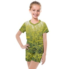 Yellow Goldenrod Kids  Mesh Tee And Shorts Set