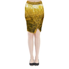 Gold Goldenrod Midi Wrap Pencil Skirt