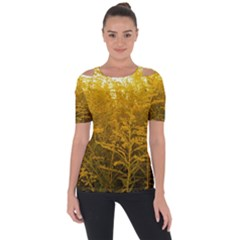 Gold Goldenrod Shoulder Cut Out Short Sleeve Top