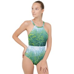 Turquoise Goldenrod High Neck One Piece Swimsuit