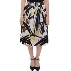 Abstract Brushstrokes Natural Midi Skirt