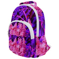 Pink And Blue Sideways Sumac Rounded Multi Pocket Backpack