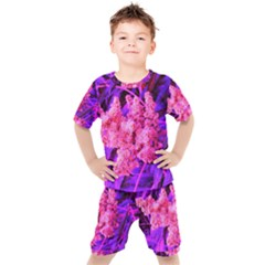 Pink And Blue Sideways Sumac Kids  Tee And Shorts Set