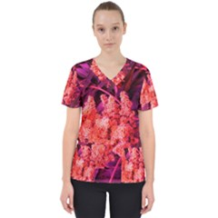Pink Sideways Sumac Women s V Neck Scrub Top
