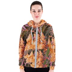 Pale Yellow And Green Sideways Sumac Women s Zipper Hoodie