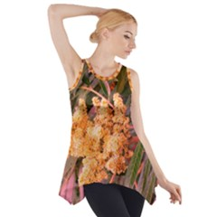 Pale Yellow And Green Sideways Sumac Side Drop Tank Tunic