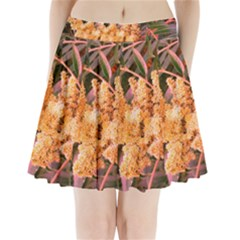 Pale Yellow And Green Sideways Sumac Pleated Mini Skirt