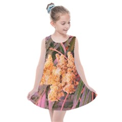 Pale Yellow And Green Sideways Sumac Kids  Summer Dress