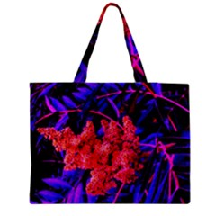 Red And Blue Sideways Sumac Zipper Medium Tote Bag by okhismakingart