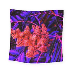Red And Blue Sideways Sumac Square Tapestry (small)