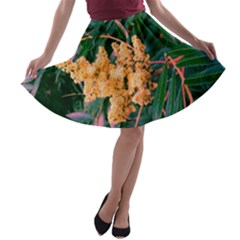 Green And Gold Sideways Sumac A Line Skater Skirt
