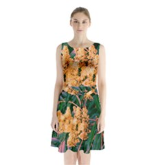 Green And Gold Sideways Sumac Sleeveless Waist Tie Chiffon Dress