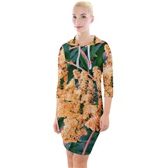 Green And Gold Sideways Sumac Quarter Sleeve Hood Bodycon Dress