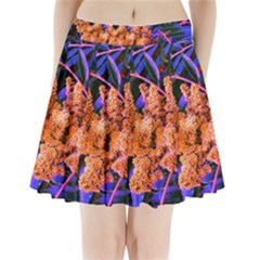 Blue And Gold Sideways Sumac Pleated Mini Skirt