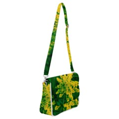 Yellow Sumac Bloom Shoulder Bag With Back Zipper