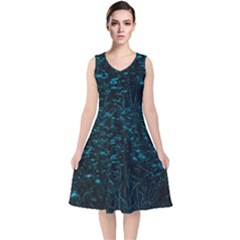 Dark Green Queen Anne s Lace Hillside V Neck Midi Sleeveless Dress