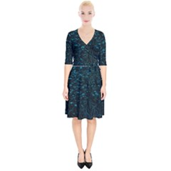 Dark Green Queen Anne s Lace Hillside Wrap Up Cocktail Dress