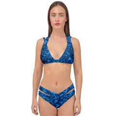 Blue Queen Anne s Lace Hillside Double Strap Halter Bikini Set