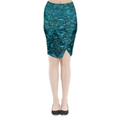 Blue Green Queen Annes Lace Hillside Midi Wrap Pencil Skirt