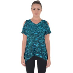 Blue Green Queen Annes Lace Hillside Cut Out Side Drop Tee
