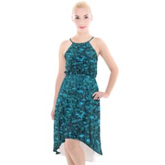 Blue Green Queen Annes Lace Hillside High Low Halter Chiffon Dress