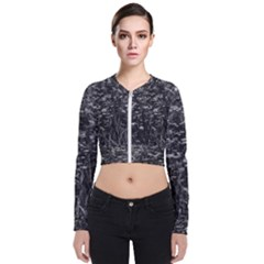 Black And White Queen Anne s Lace Hillside Long Sleeve Zip Up Bomber Jacket