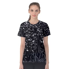 High Contrast Black And White Queen Anne s Lace Hillside Women s Cotton Tee